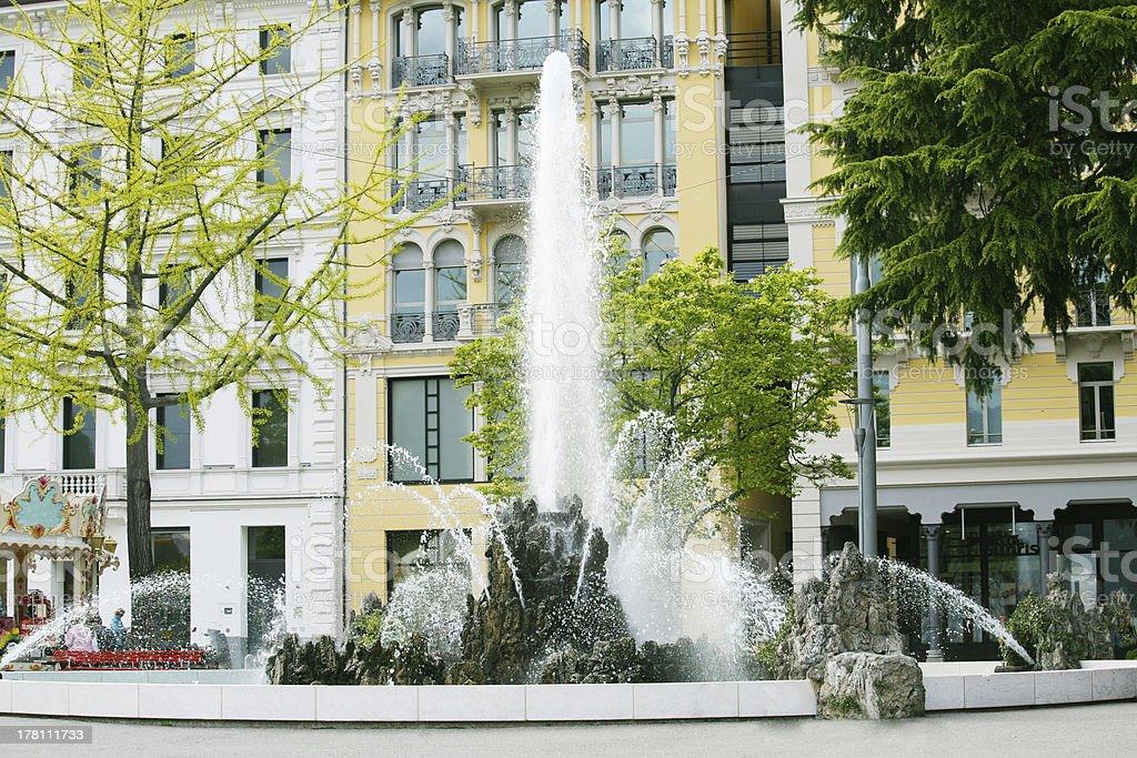 Fountain, Lugano royalty-free stock photo