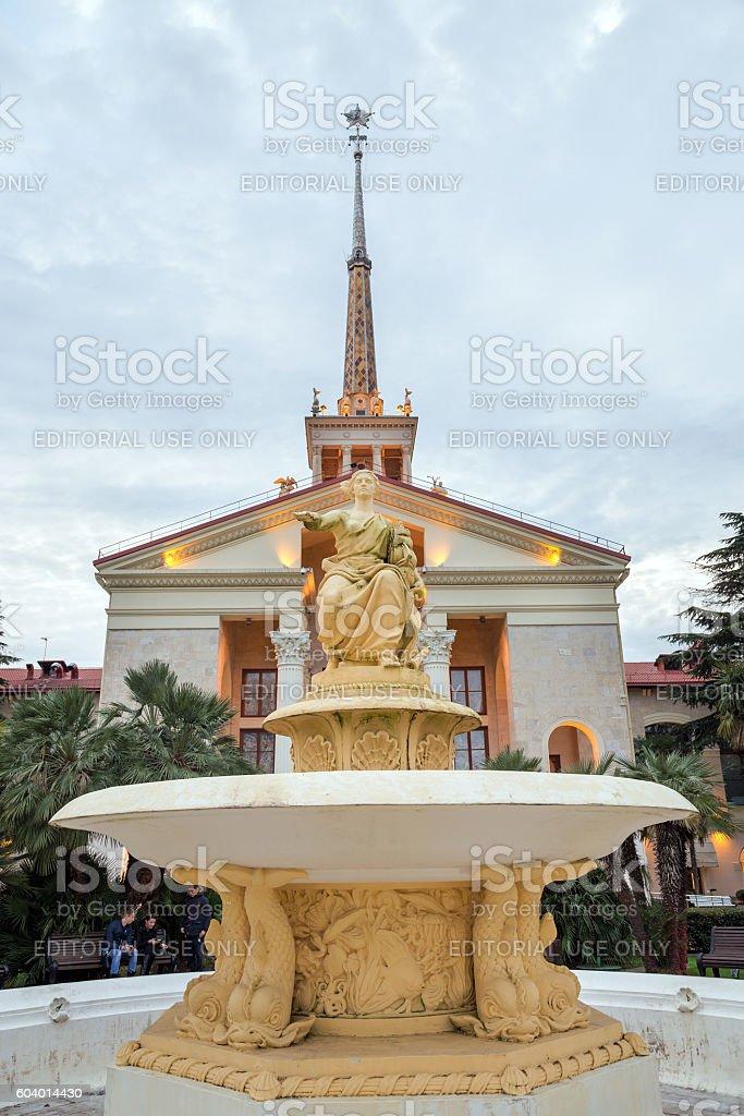 Fountain near marine station in Sochi. Russia stock photo