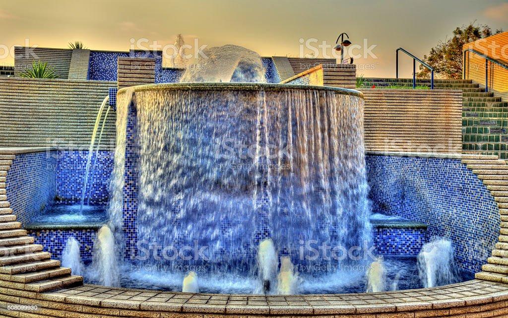 Fountain near the Public Beach in Abu Dhabi stock photo