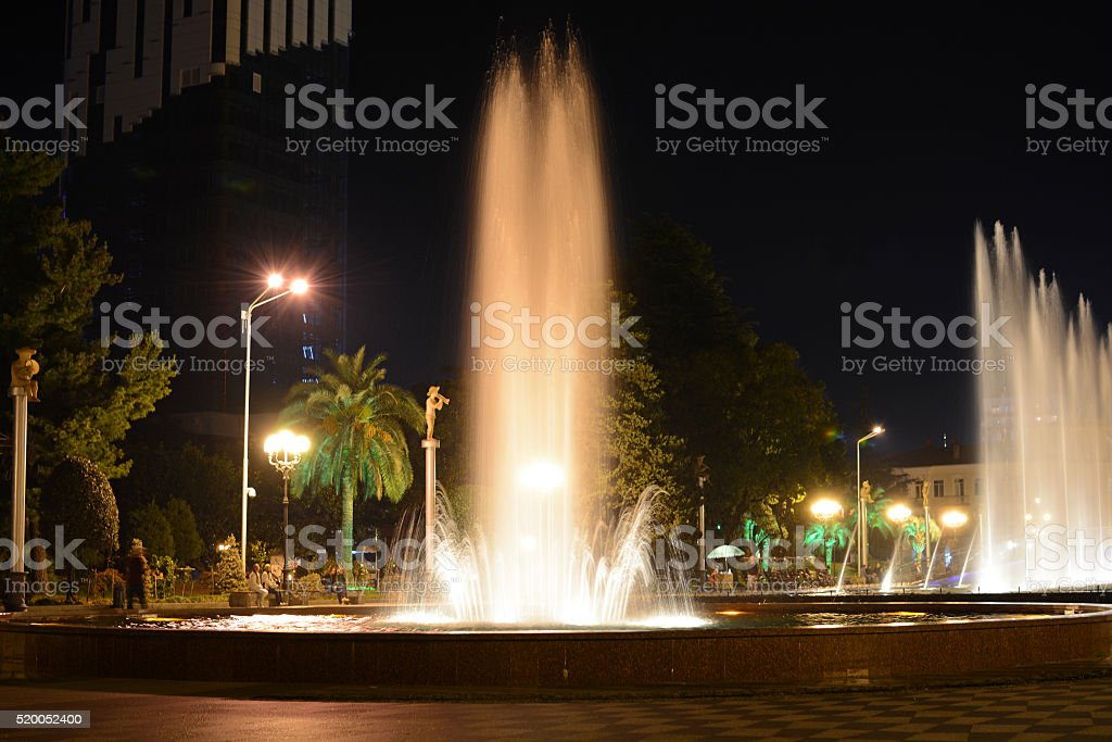 Fountain night show in Batumi, Georgia stock photo