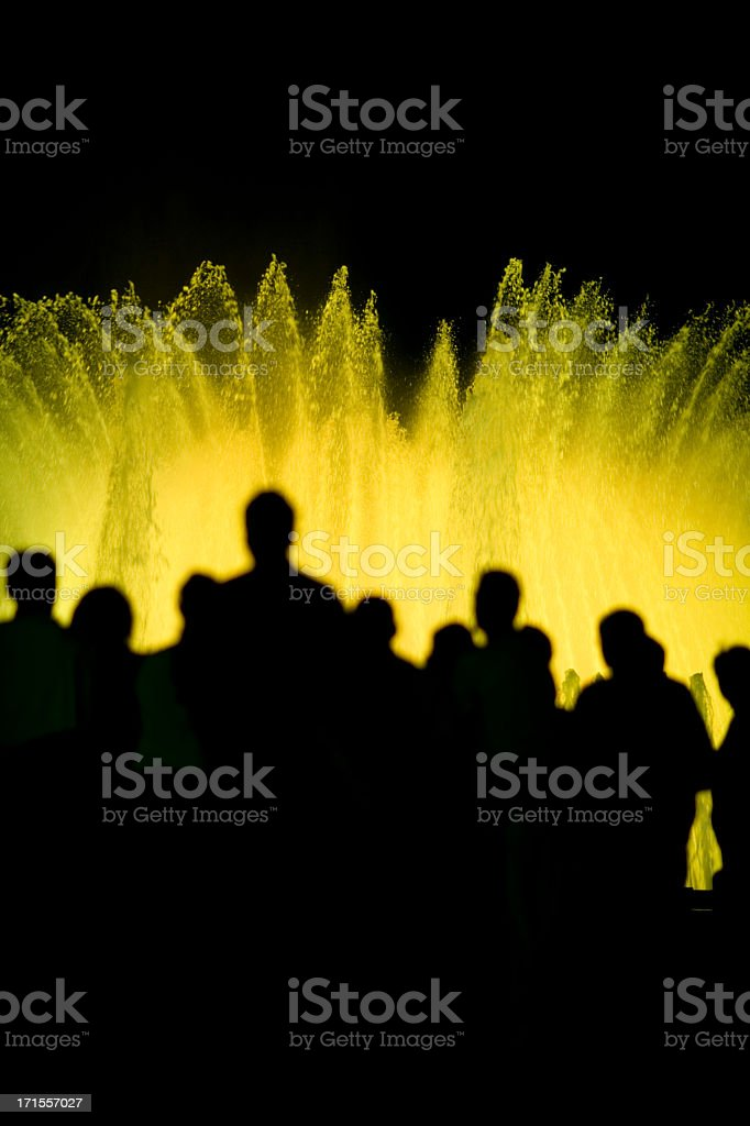 fountain night show silhouette stock photo