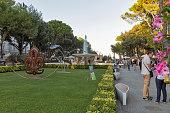 Fountain of Four horses in Federico Fellini Park. Rimini, Italy.
