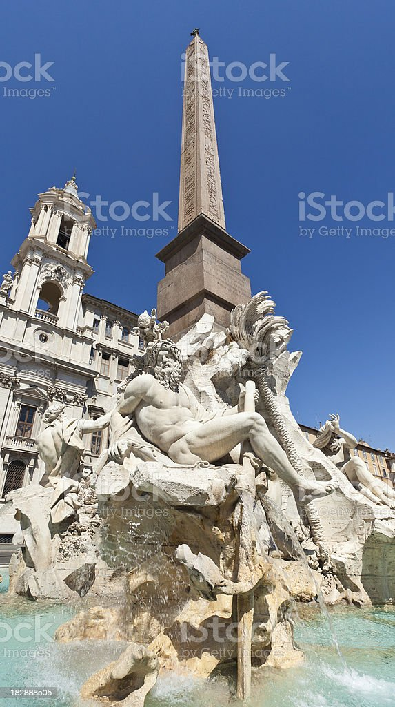 Fountain Of Four Rivers In Piazza Navona stock photo