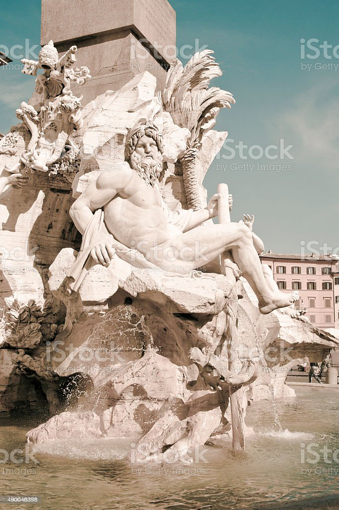 Fountain of Four Rivers in Piazza Navona, Rome, Italy stock photo