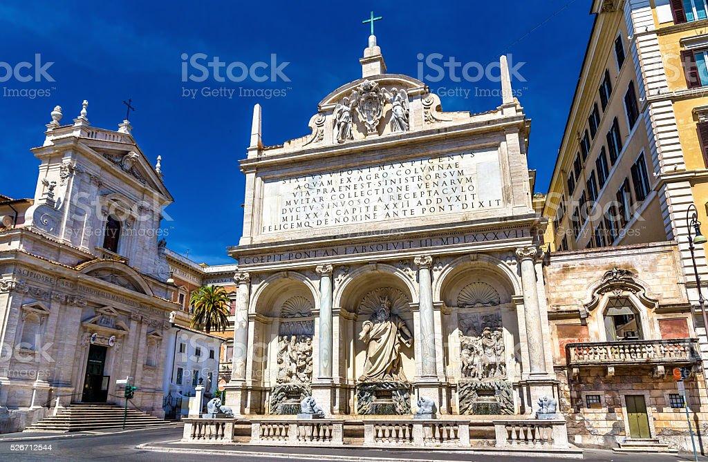 Fontana dell'Acqua Felice in Rome stock photo