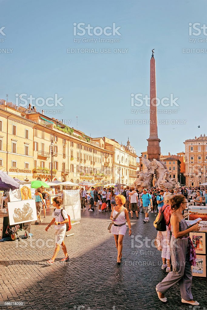 Fountain of Neptune and Fountain of four Rivers Piazza Navona stock photo