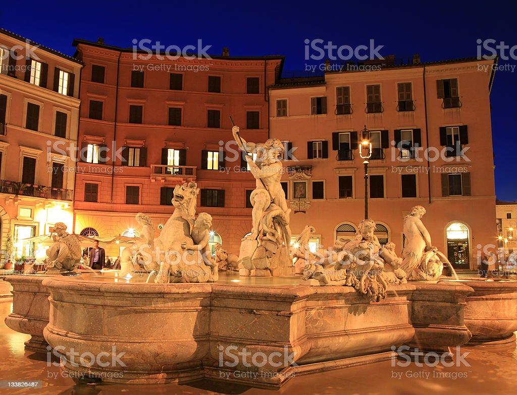 Fountain of Neptune at night, Piazza Navona royalty-free stock photo