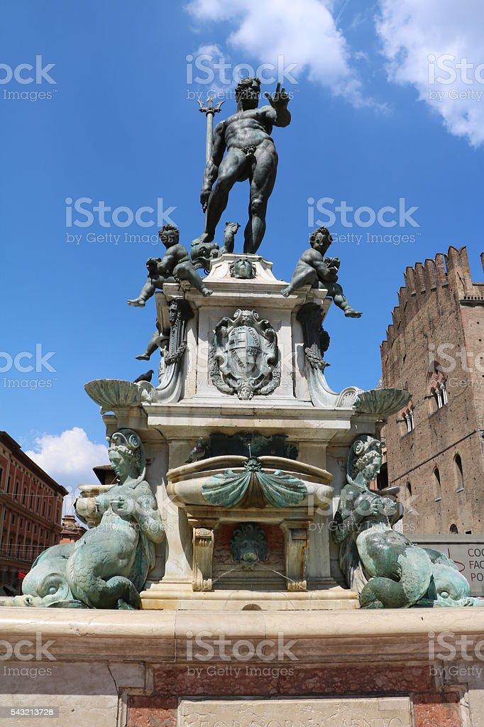 Fountain of Neptune at Piazza del Nettuno, Bologna Italy stock photo