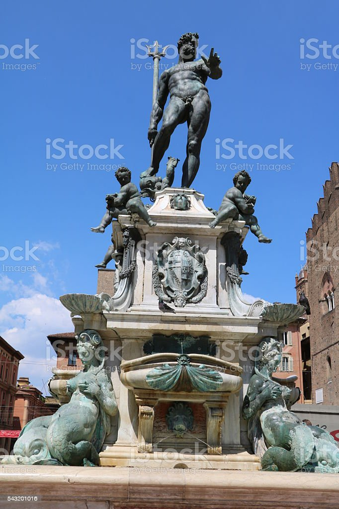 Fountain of Neptune at Piazza del Nettuno in Bologna Italy stock photo