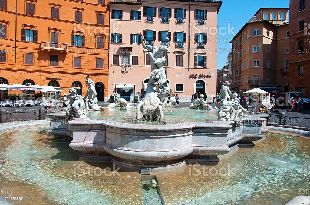 Fountain of Neptune at the Piazza Navona in Rome, Italy. stock photo
