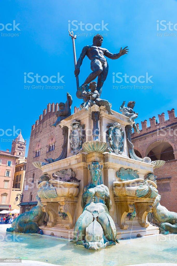 Fountain of Neptune, Bologna, Italy. stock photo
