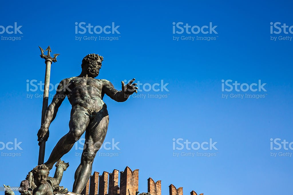 Fountain of Neptune, Bologna, Italy stock photo