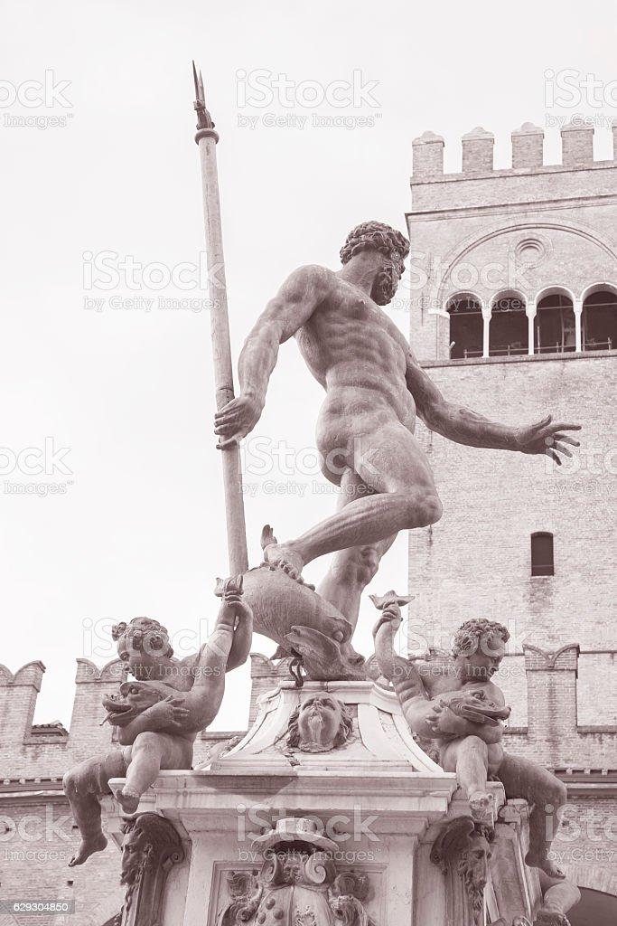 Fountain of Neptune, Bologna stock photo