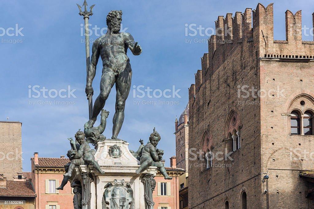 Fountain of Neptune, Bologna's symbol stock photo