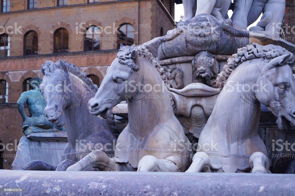 Fountain of Neptune by Bartolomeo Ammannati, Florence, Italy stock photo