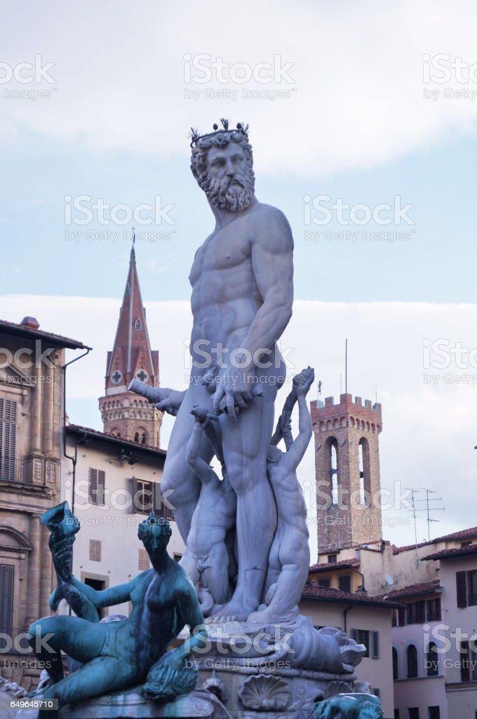 Fountain of Neptune by Bartolomeo Ammannati, Florence stock photo