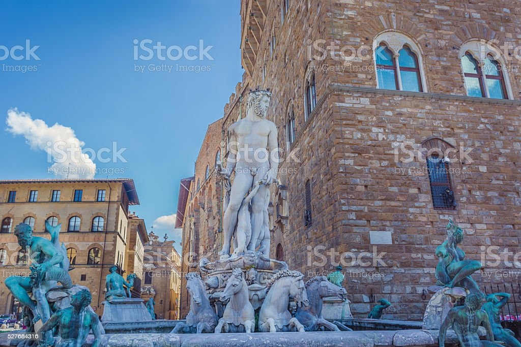 Fountain of Neptune, Florence Italy. stock photo