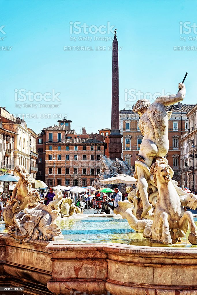 Fountain of Neptune Fountain of four Rivers in Piazza Navona stock photo