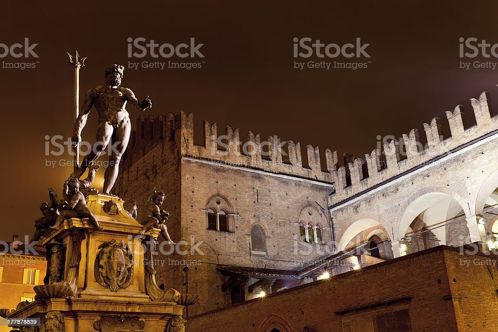 Fountain of Neptune in Bologna at night stock photo
