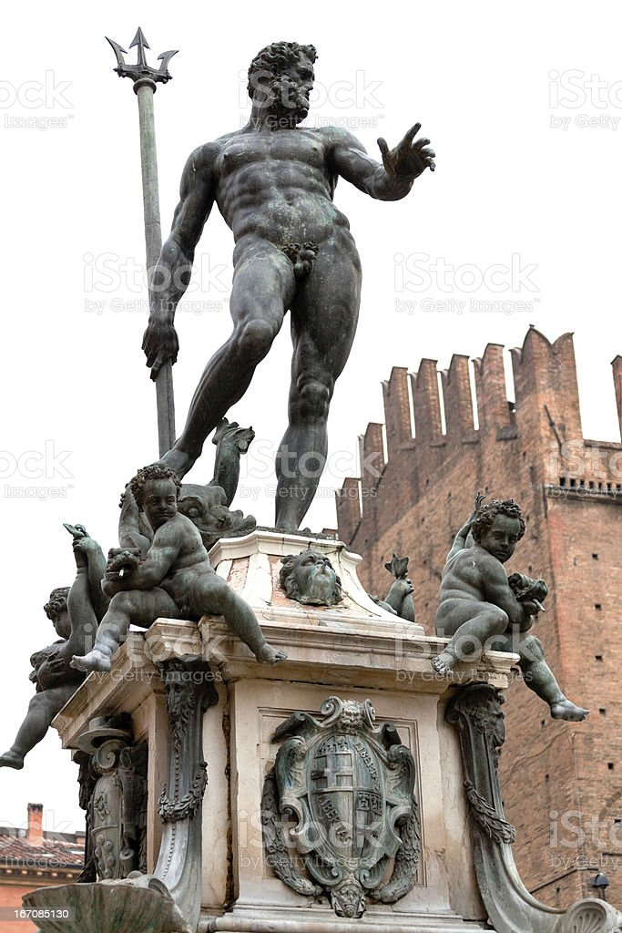 Fountain of Neptune in Bologna, Italy stock photo