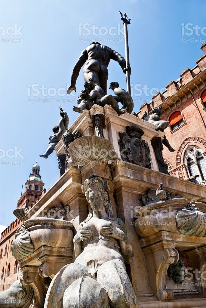 Fountain of Neptune in Bologna stock photo