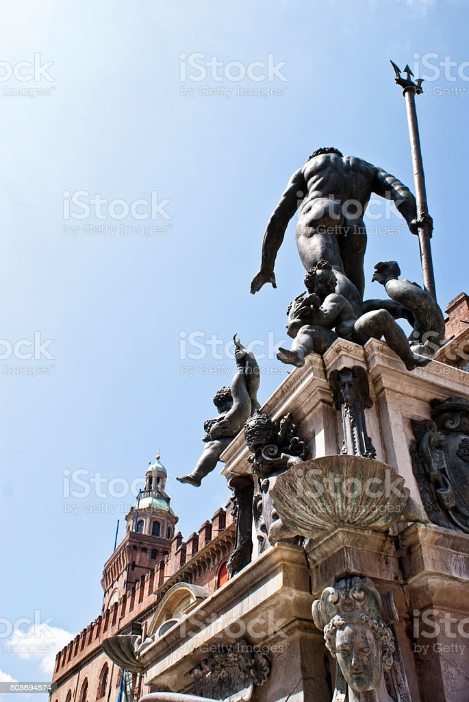 Fountain of Neptune in Bologna stock photo