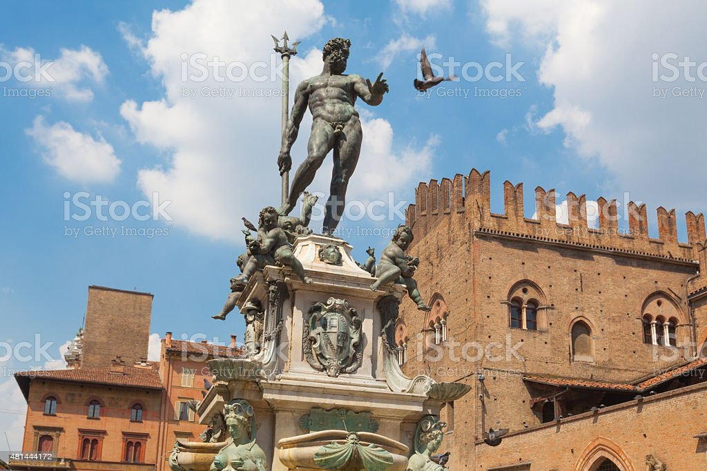Fountain of Neptune in Bologna's main square stock photo