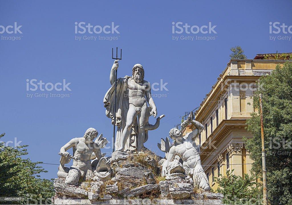 Fountain of Neptune in Piazza dei Popolo. Rome. Italy. stock photo