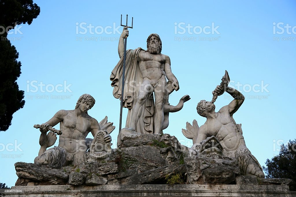 Fountain of Neptune in Piazza del Popolo, Rome, Italy stock photo