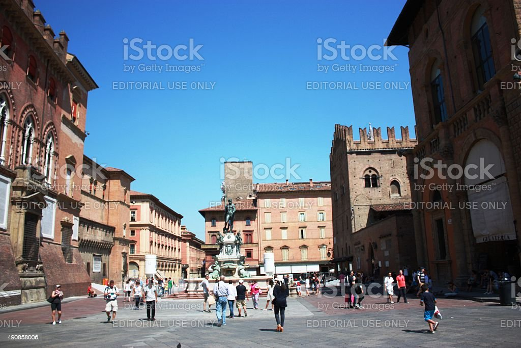 Fountain of Neptune is fountain in the center of Bologna stock photo
