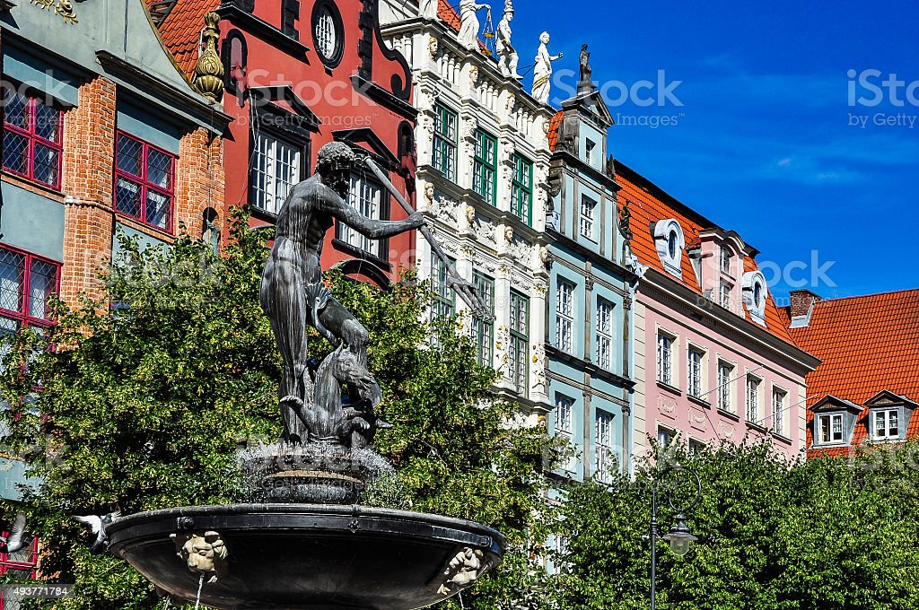 Fountain of Neptune, old town in Gdansk, Gdańsk, Poland stock photo