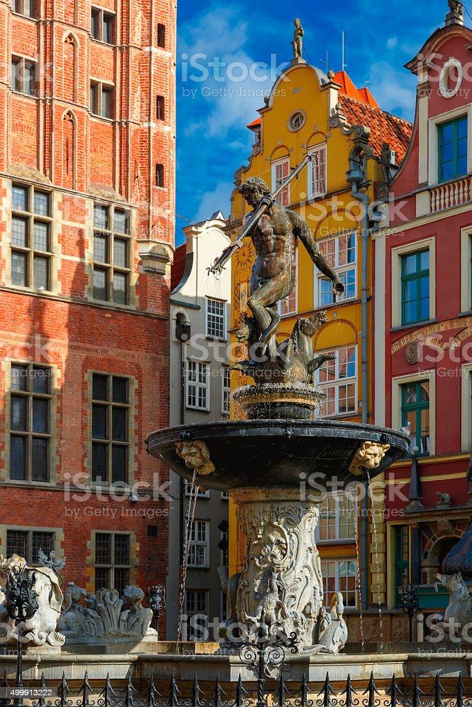 Fountain of Neptune on Long Market Street, Gdansk stock photo