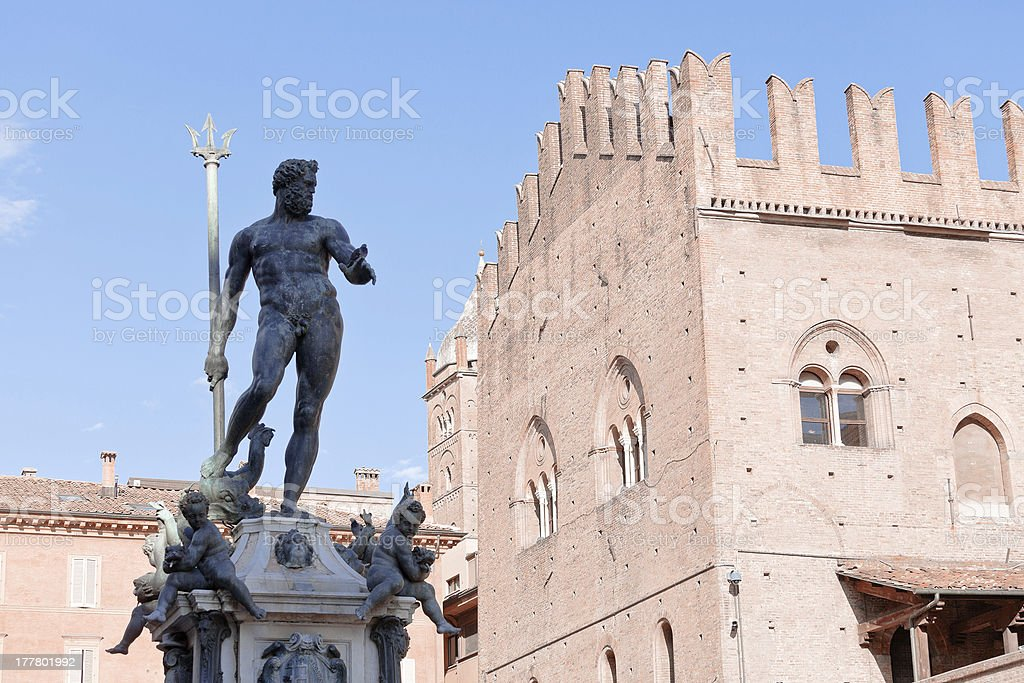 Fountain of Neptune on Piazza del Nettuno, Bologna stock photo