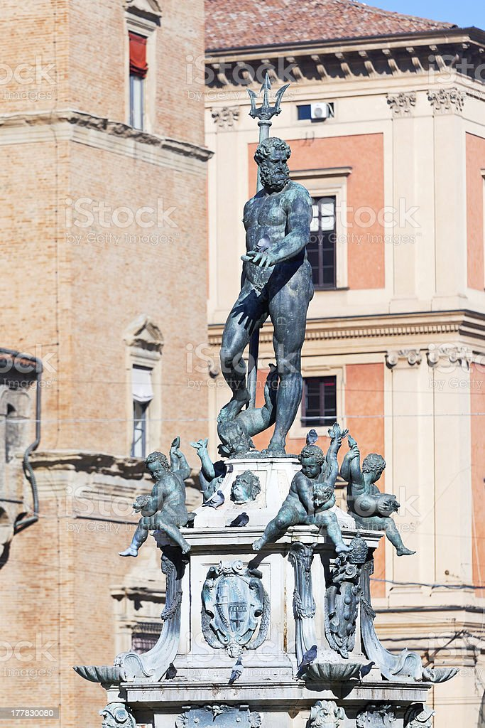 Fountain of Neptune on Piazza del Nettuno in Bologna stock photo