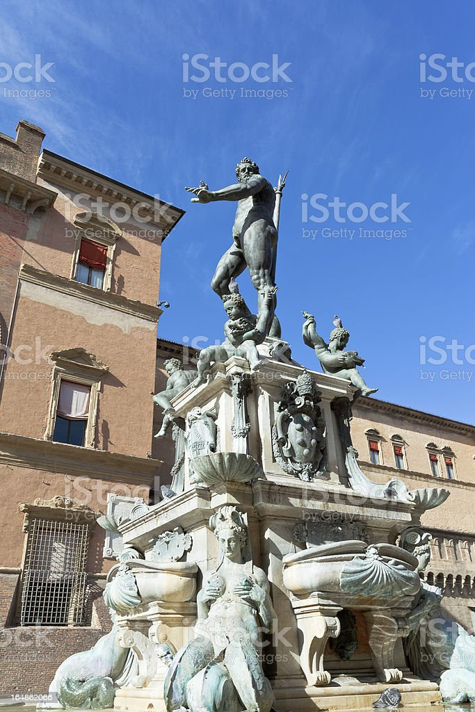 Fountain of Neptune on Piazza del Nettuno stock photo