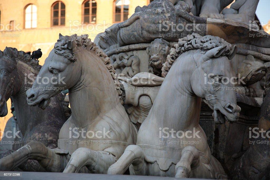 Fountain of Neptune on Piazza della Signoria, Florence, Italy stock photo