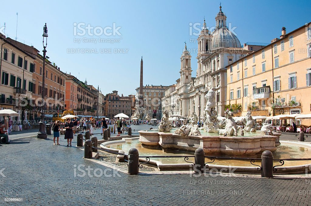 Fountain of Neptune on Piazza Navona in Rome, Italy. stock photo