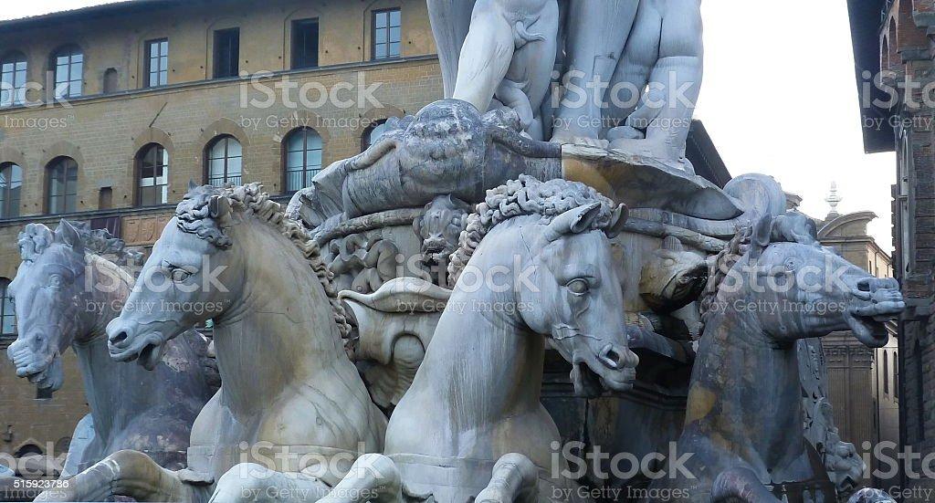Fountain of Neptune, Piazza della Signoria, Florence, Italy stock photo