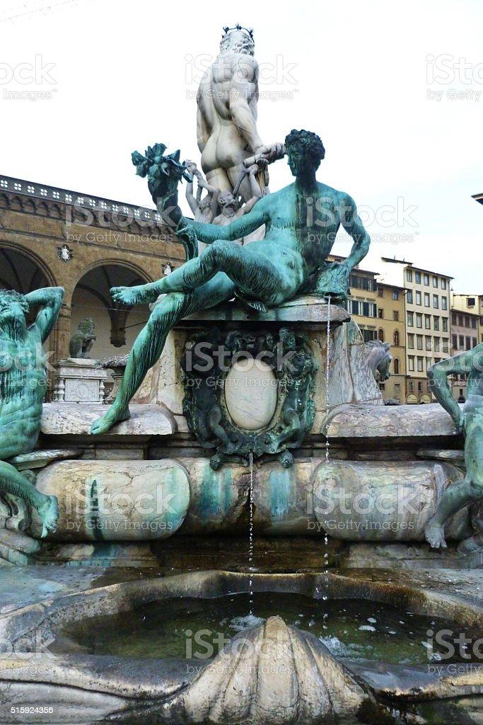 Fountain of Neptune, Piazza della Signoria, Florence stock photo