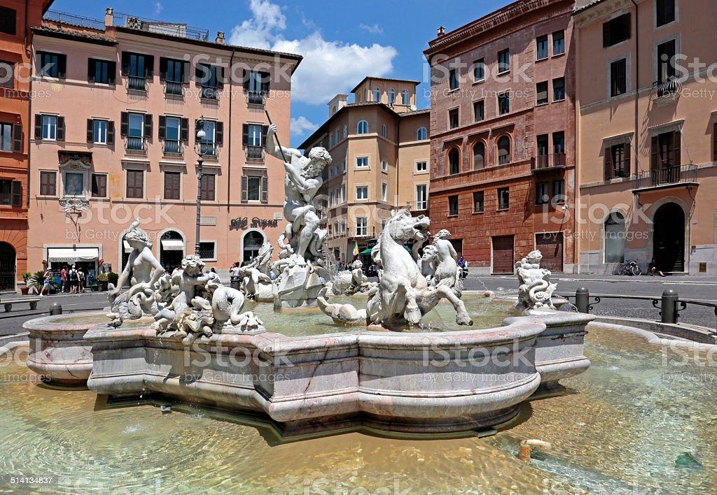 Fountain of Neptune, Piazza Navona, Rome, Italy stock photo