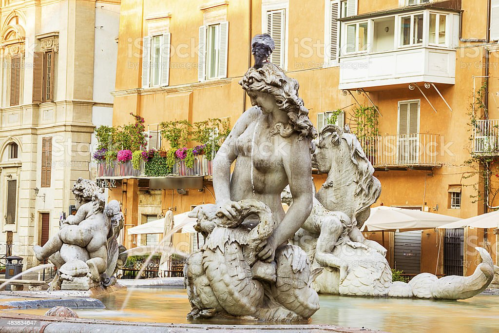 Fountain of Neptune. Roma. Italy. stock photo
