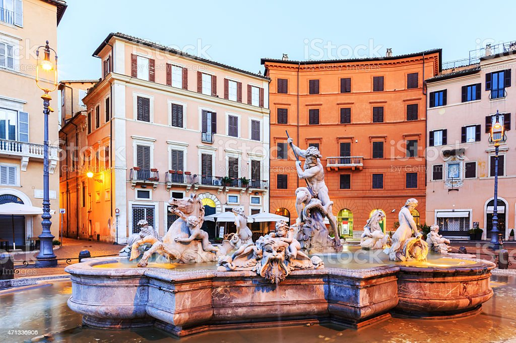 Fountain Of Neptune. Rome, Italy stock photo