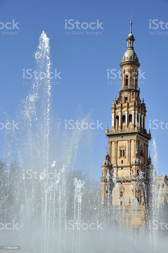 Fountain of Plaza de Espana in Seville, Spain royalty-free stock photo