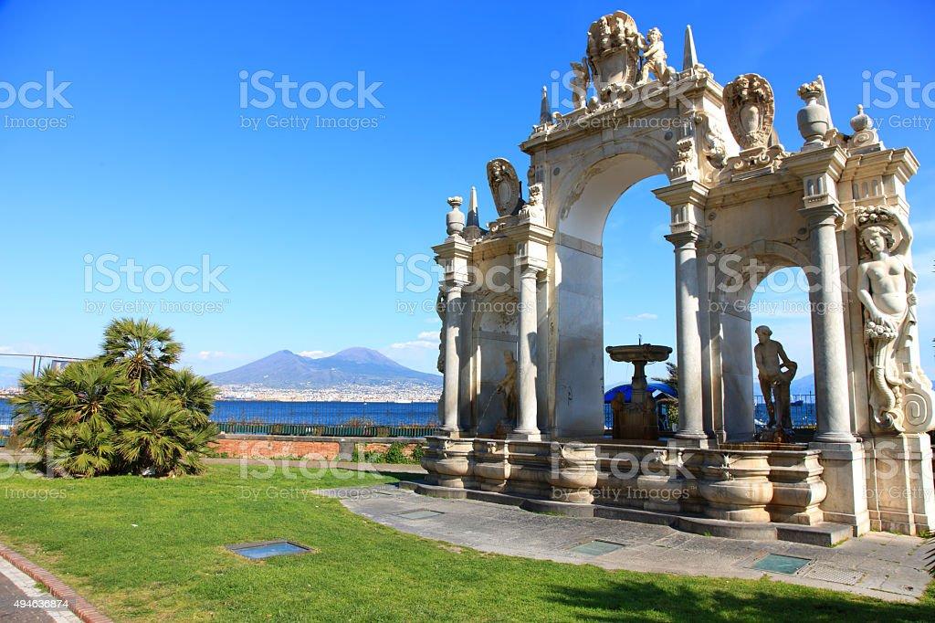Fountain of santa lucia and Monte Vesuvio stock photo