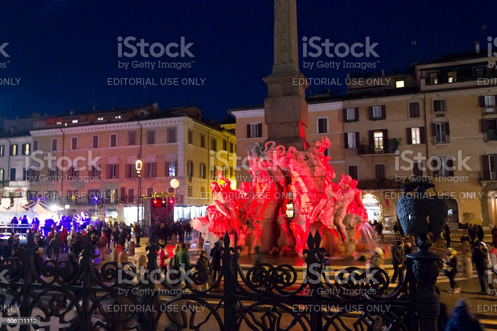 Fountain of the four Rivers and obelisk stock photo