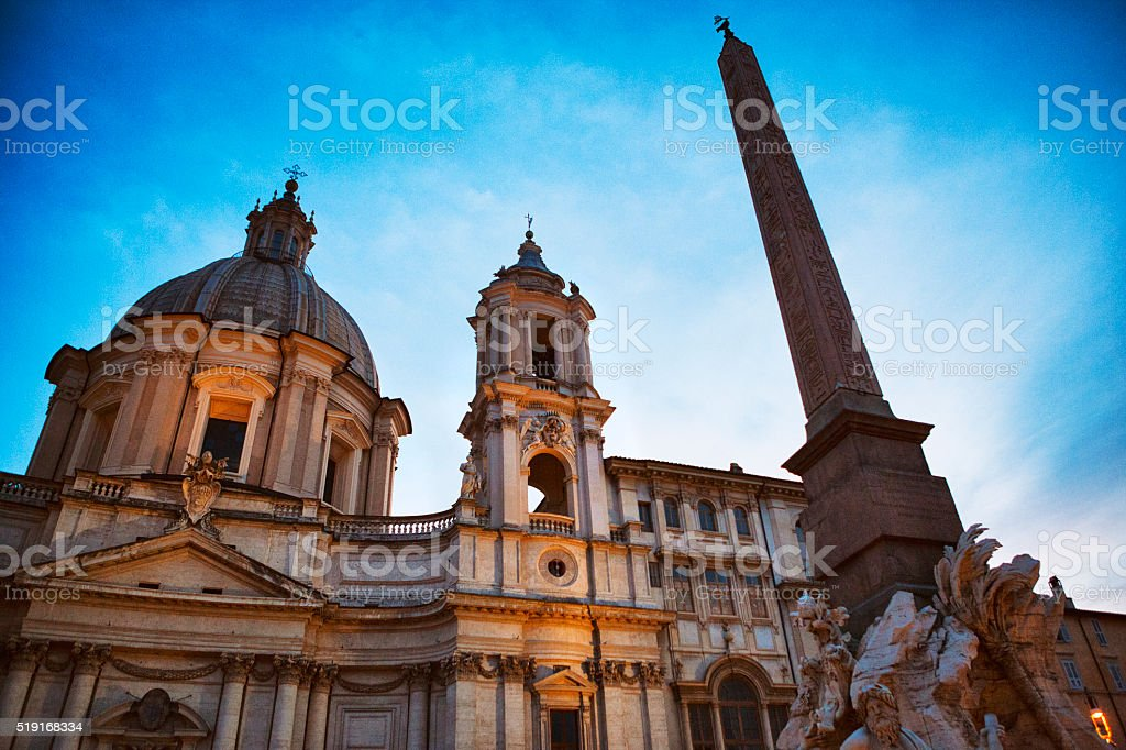 Fountain of the four Rivers and Sant'agnese in Rome, Italy stock photo