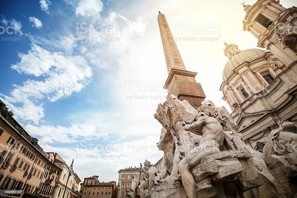 Fountain of the Four Rivers by Bernini at Piazza Navona stock photo