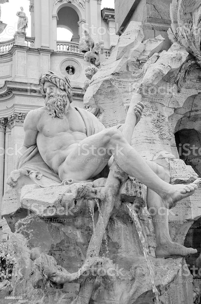 Fountain of the Four Rivers in Piazza Navona stock photo