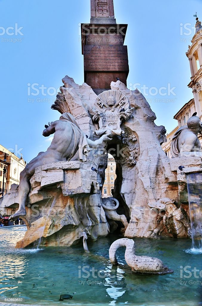 Fountain Of The Four Rivers,  Rome, Italy stock photo