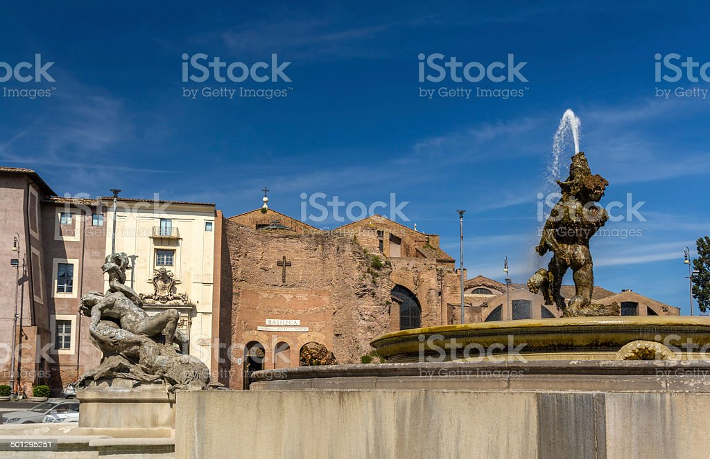 Fontana delle Naiadi in Rome, Italy stock photo